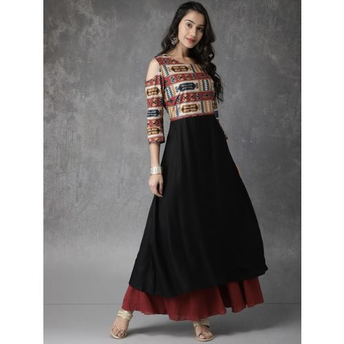 Anouk Women Black Printed Anarkali Kurta