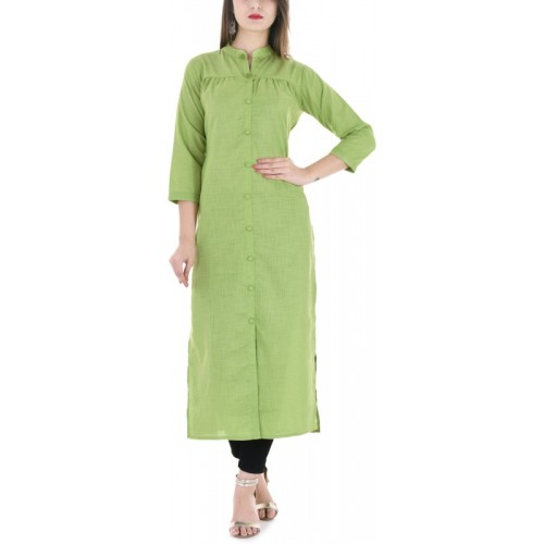WICANLIFESTYLE Light Green Cotton Solid Frontslit Kurta