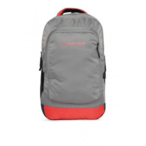 Fastrack Men Grey Polyester Brand Logo Backpack