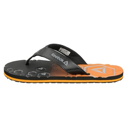 Reebok Men Black & Orange Xtreme Printed Thong Flip-Flops