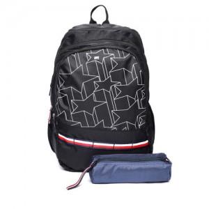 Tommy Hilfiger Unisex Black Geometric Print Backpack