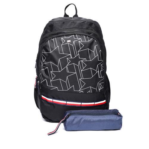 6315d64f5335 Buy Tommy Hilfiger Unisex Black Geometric Print Backpack online ...