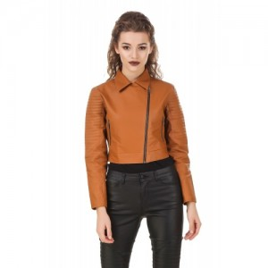 TEXCO Tan Crop Leather Jacket