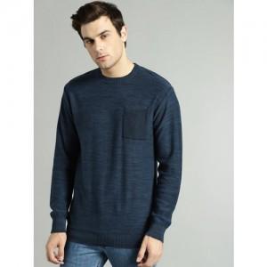 Roadster Men Navy Blue Solid Pullover