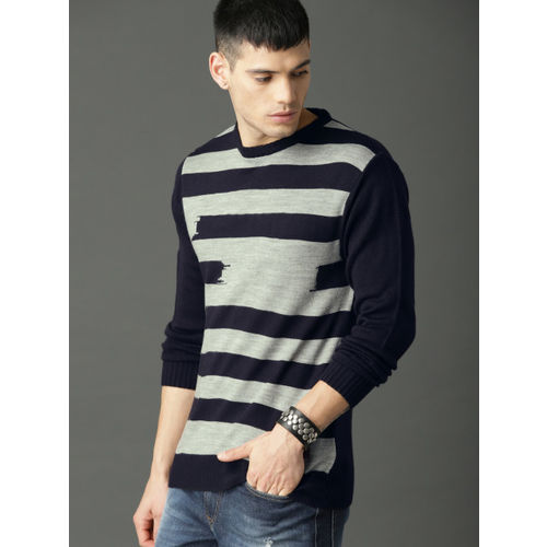Roadster Men Navy Blue & Grey Striped Pullover Sweater