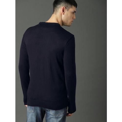 Roadster Men Navy Blue & Grey Striped Pullover Sweater