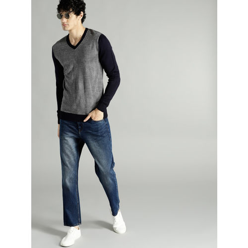 Roadster Men Navy Blue & White Self Design Pullover