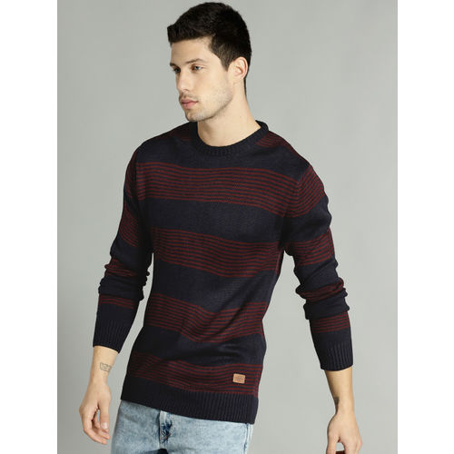 Roadster Men Navy Blue & Maroon Striped Pullover