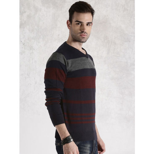 Roadster Navy & Maroon Striped Sweater