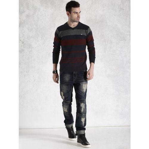 Roadster Navy & Maroon Striped Sweater