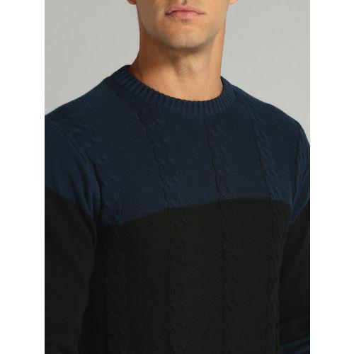 Roadster Men Navy & Black Colourblocked Pullover
