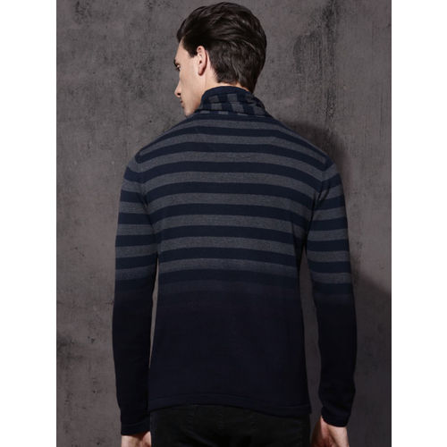 Roadster Men Navy Blue & Grey Striped Pullover