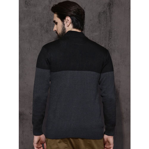 Roadster Men Black & Charcoal Colourblocked Sweater