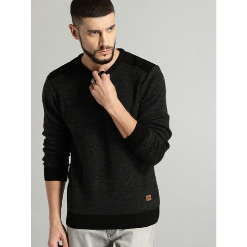 Roadster Men Black Solid Pullover