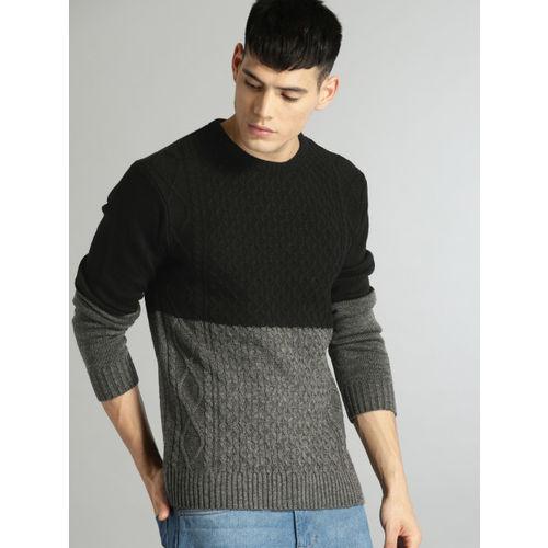 Roadster Men Black & Grey Colourblocked Pullover