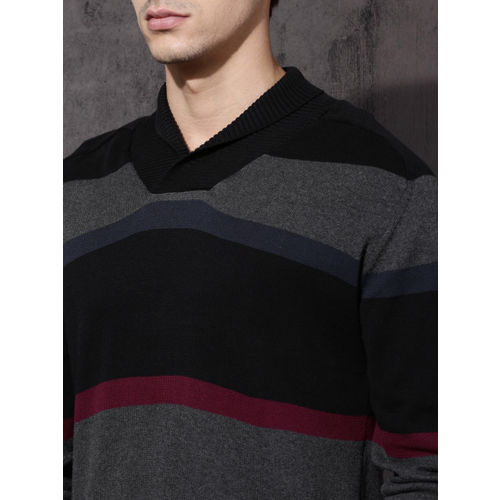 Roadster Men Black & Charcoal Colourblocked Pullover Sweater