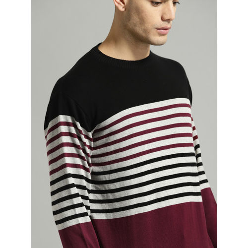 Roadster Men Black & Grey Striped Pullover Sweater