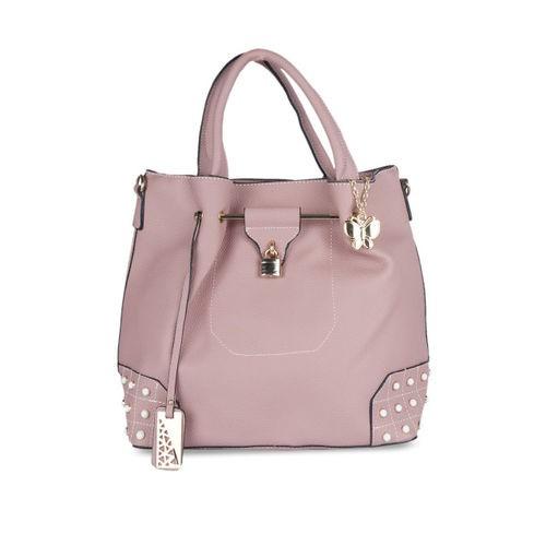 Butterflies Pink Polyurethane Embellished Handheld Bag