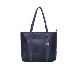 Butterflies Blue Polyurethane Solid Handheld Bag