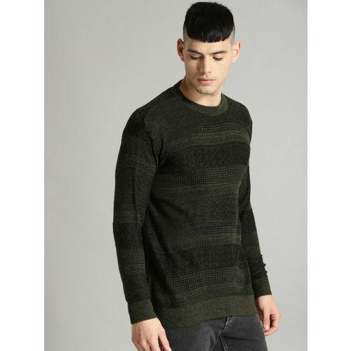 Roadster Men Black & Green Self Design Pullover
