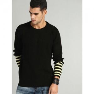 Roadster Men Black Striped Pullover