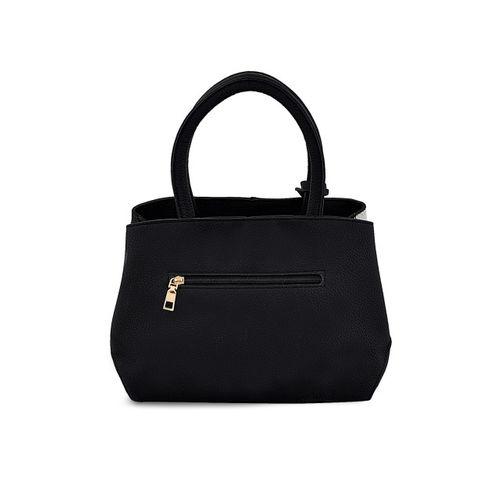 Mark & Keith Black & White PU Textured Handheld Bag