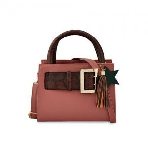 Mark Keith Pink Polyurethane Solid Handheld Bag