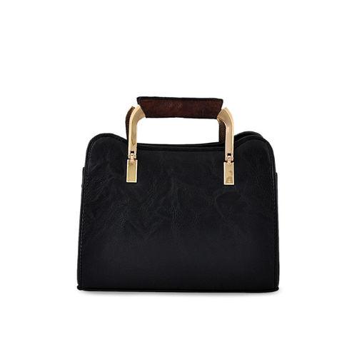 Mark & Keith Black Polyurethane Solid Handheld Bag