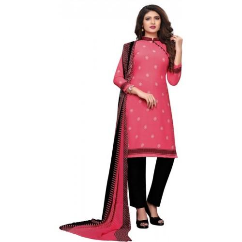 Saara Pink & Black Crepe Printed Salwar Suit Dupatta Material