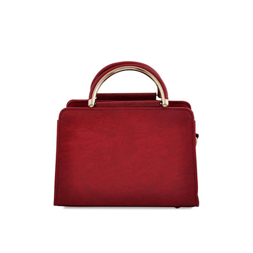 Mark & Keith Maroon Polyurethane Solid Handheld Bag