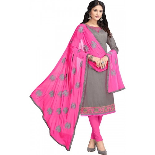 Maroosh Pink & Gray Cotton Embroidered Semi-stitched Salwar Suit
