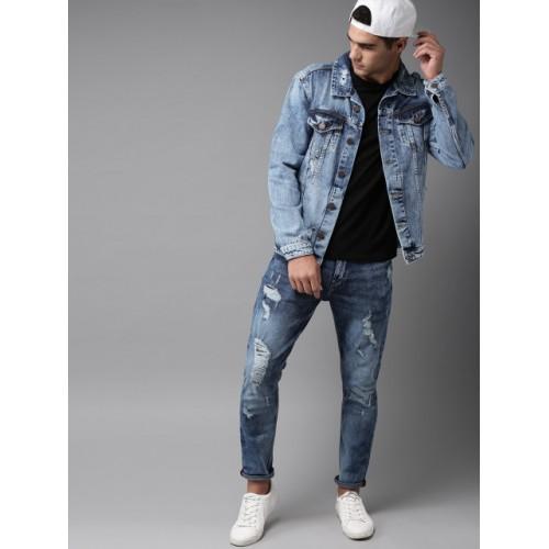 HERE&NOW Men Blue Solid Denim Jacket