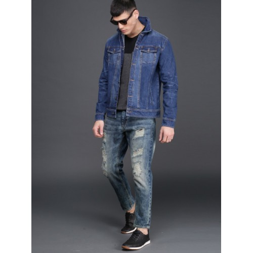 WROGN Blue Solid Denim Jacket