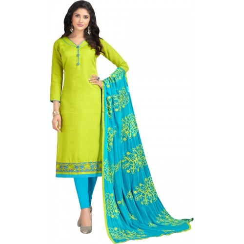 Maroosh Green & Blue Cotton Embroidered Semi-stitched Salwar Suit