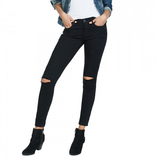 XEE Black Slim Fit Ripped Jeans