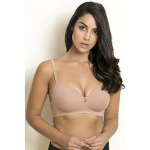 Zivame Beige Cotton Padded Wirefree T-Shirt Bra