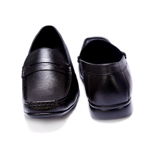 Shoebook Genuine Mild Leather with Strip Loafer Shoes