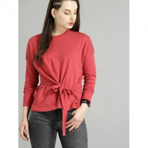 Roadster Women Red Cotton Solid Sweatshirt