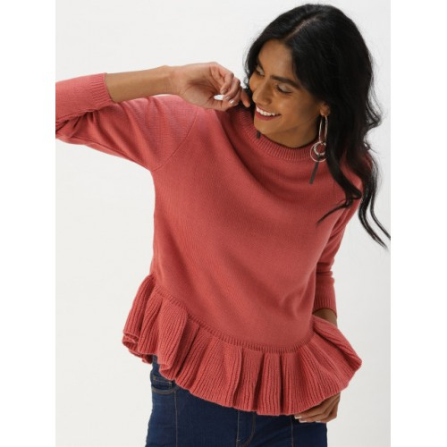DressBerry Women Pink Acrylic Solid Pullover