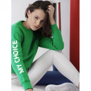 Harvard Women Green Cotton Solid Sweatshirt