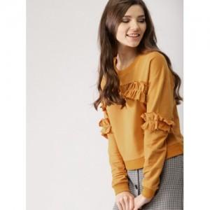 DressBerry Women Mustard Yellow Cotton Solid Sweatshirt