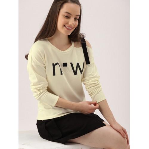 DressBerry Women Cream-Coloured Cotton Printed Sweatshirt