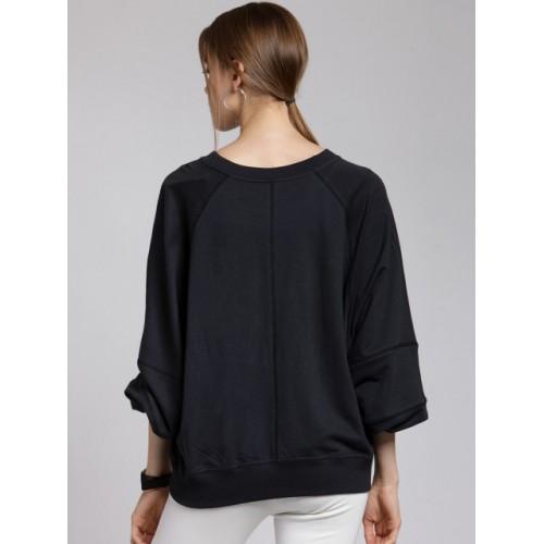 plusS Women Black Fleece Solid Sweatshirt