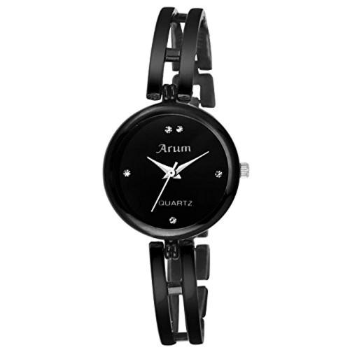 ARUM Black Round Metal Watch for Women