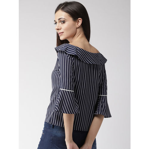 Style Quotient Women Navy Blue & White Striped Top