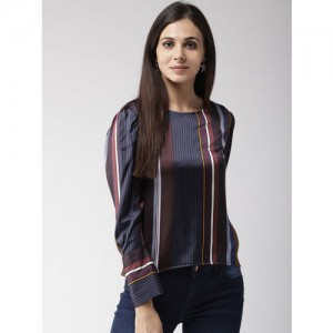Style Quotient Women Navy Blue & Maroon Striped Top