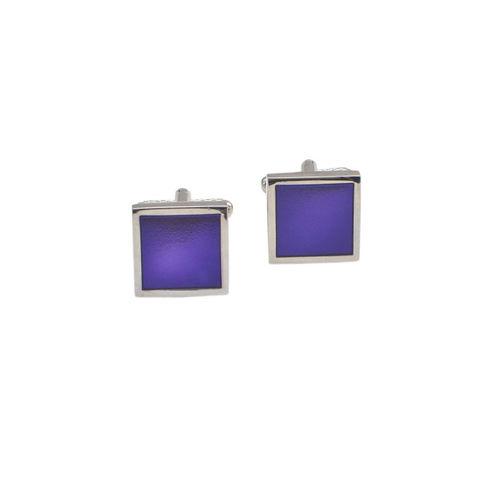 Alvaro Castagnino Silver-Toned & Purple Cufflinks