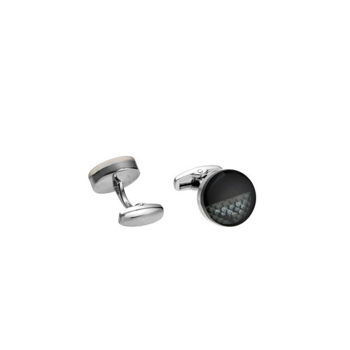 Alvaro Castagnino Black & Grey Printed Cufflinks