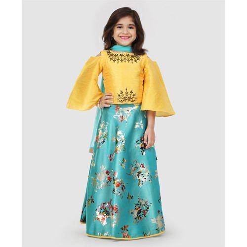 Babyhug Yellow & Sea Green Cold Shoulder Choli & Lehenga With Dupatta Set Floral Studded Design
