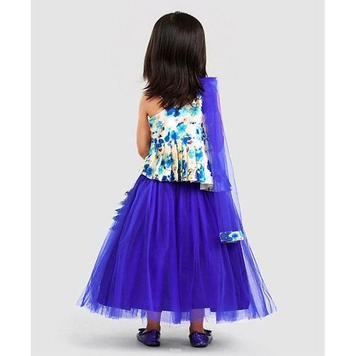 Saka Designs Royal Blue Sleeveless Choli And Tutu Lehenga With Net Dupatta Flower Applique